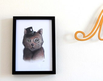 Art print Grandpa cat / Funny cat illustration / 12 x 8.3 inch / 30 x 21 cm / A4 size