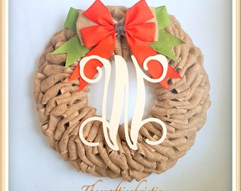 Pumpkin Wreath-Fall Wreath-Burlap Wreath-Thanksgiving Wreath-Halloween Wreath-Front Door Wreath- Front Door Decor-Fall Initial Wreath