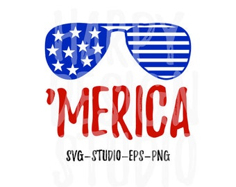 Merica SVG, Fourth Of July SVG, Patriotic SVG, Sunglasses Svg, America Svg, Eps, Png, Svg, Files, T-Shirt Designs