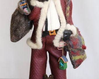 Old World Santa , Polymer Clay and Wool Felted,  Toy Sack and Animals