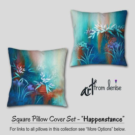 Pillow Cover Set Blue Orange Decor Throw Toss Pillows Teal