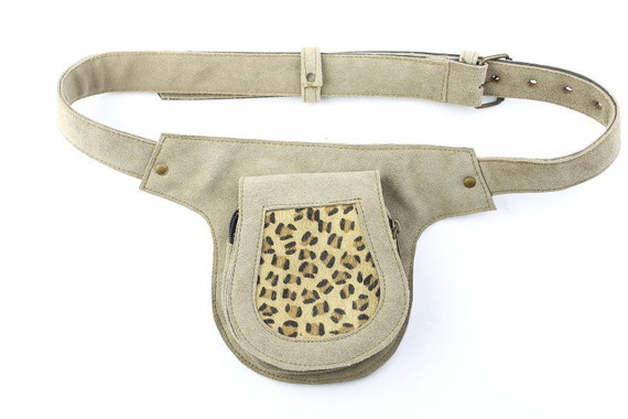 Cheetah Print Suede Leather Waist Pouch, Fanny pack, Utility belt, Pocket Belt.