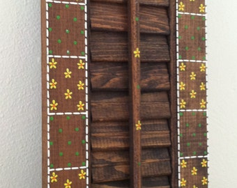 """Vintage 70s Hand Painted Shutter Wooden Funky Wall Decor Marilyn Mosley 16 x 6"""""""