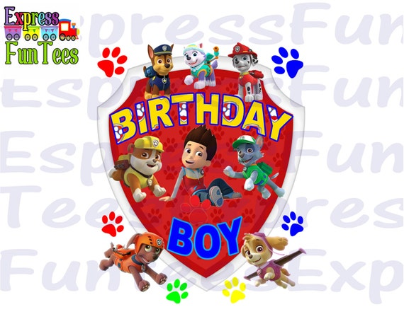Paw Patrol Iron On Transfer Instant Download Paw Patrol Birthday Boy Shirt Iron On Paw Patrol Boys Shirt Paw Patrol Shirt Iron On
