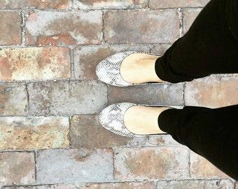 Ava Snakeskin Print Leather Flats