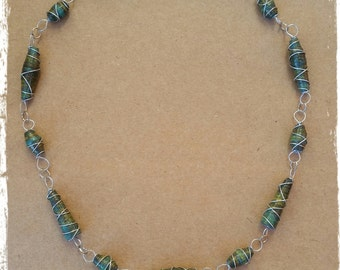 one of a kind recycled paper bead necklace: deep forest green tones
