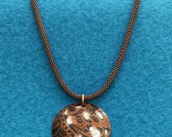 Antique Lace Etched Necklace, Etched Copper Necklace, Copper Necklace, Antiqued Copper Necklace