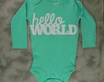 Green Hello World Onesie