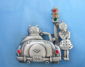 Cool Cats JJ Figural Pin