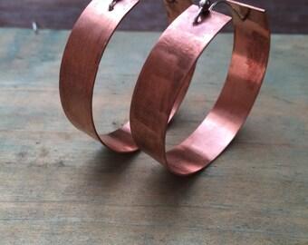 FREESHIP, copper earrings, large copper hoop earrings, large hoops, hoop earrings, wide hoops, copper jewelry,  boho hoops, brand new design