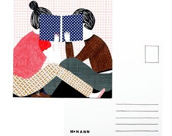 Illustration postcard - We're not here