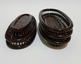 5 Piece Japanese Rantai Shikki Lacquered Oval Saucers