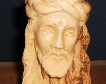 Jesus bust crowned  - Bethlehem olive wood ,Handmade ,Free shipping