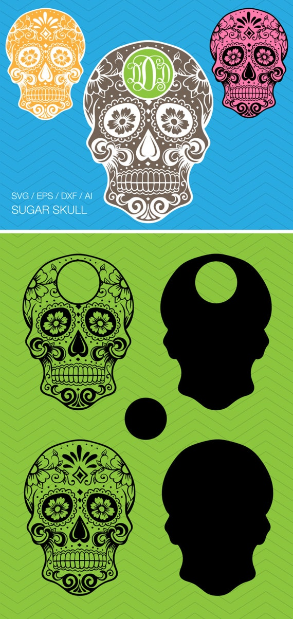 2 Sugar Skull Monogram Frames Dxf Svg Eps For Cricut By