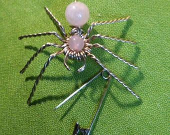 Brooch made spider by hand in German silver and Rose Quartz. PabloPietra