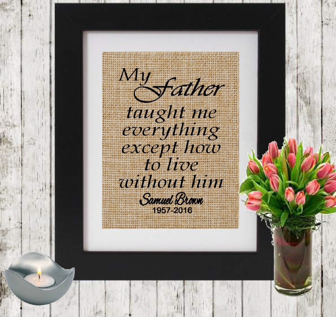 In Memory Dad Parent Daddy: Personalized Father Memorial Gift My Father Taught Me