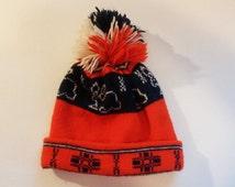 Vintage 1970s Pom Pom Winter Wool Rabbit Children's Hat