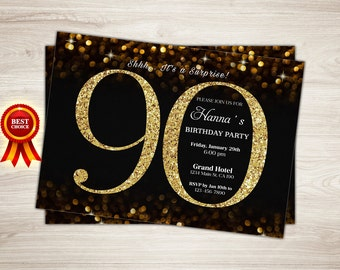 90th Birthday Invitation, Gold Glitter Birthday Party Invite, Women's 90th Surprise Birthday, Confetti Elegant, Printable Digital DIY
