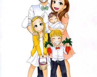 Custom Portrait/Custom Couples Portrait/Custom Family Portrait - original illustration, custom couples illustration, anime couple