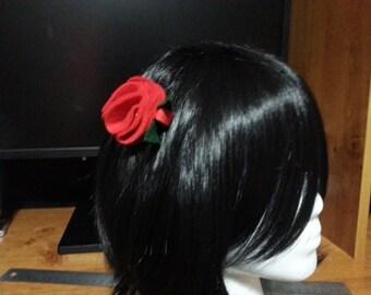 Rosette Hair Clip (Glittery Red)