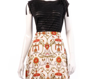 White and red patterned vintage skirt