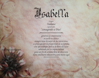 Isabella First Name Meaning Art Print Spanish Personalized 8x10