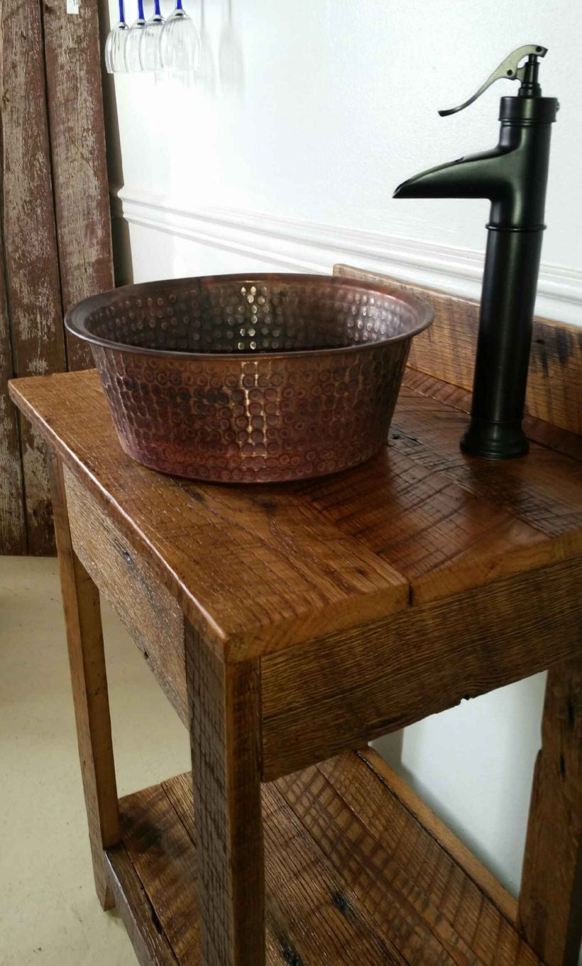 Rustic Barn Wood Mini Vanity With Hammered Copper By Oaktreecg