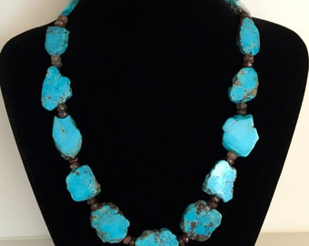 Arizona Turquoise slabs and Hessonite Necklace, Sterling Silver