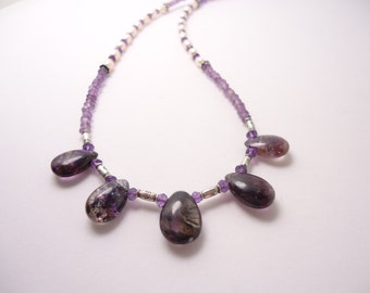 Moss Amethyst Necklace Sterling Silver Beaded Necklace Moss Amethyst Briolettes Amethyst Necklace Amethyst Jewelry Beaded Necklace Gemstone