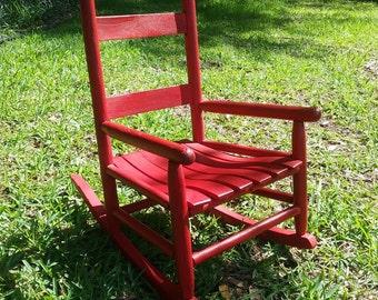 Vintage Child's Rocker; Child's Rocking Chair; Cherry Red Painted; Kid's Rocker; Slat bottomed rocker; primitive child furniture
