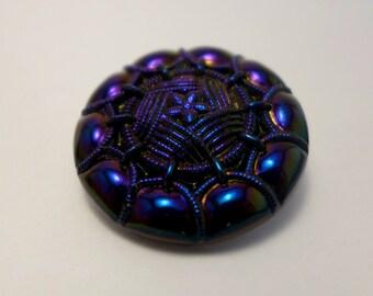 Czech glass button -  navy blue - 30mm
