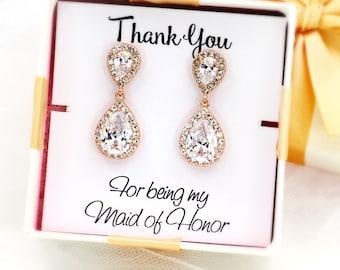 Wedding Earrings Rose gold plated Zirconia Earrings Wedding Jewelry Bridal Earring Bridesmaid Gift Wedding Jewelry Teardrop Earrings