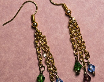 Stunning Gold Dangle Earrings - Fire Polished Czech Beads