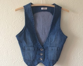 Denim Vest Blue Denim Vest Jean Vest Denim Waistcoat Womens Fitted Denim Vest Country Western Boho Medium Size