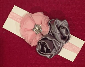 Baby Headband - Silver & Pink