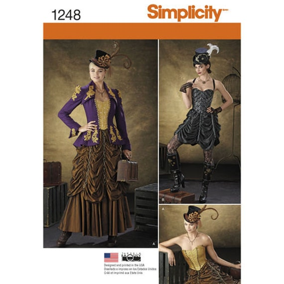 Sewing Pattern for Victorian/ Steampunk Costumes for Misses, Simplicity Pattern 1248, Halloween Costume, Womens Steampunk, Cosplay Costume by BarbarasBoutiqueShop