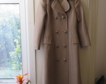 Vintage 70s Long Beige Double Breasted Coat