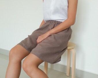 Loose fit Linen Shorts/ Women Shorts/ Wide leg pants