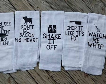Funny Kitchen Towels Set of 5, Housewarming gift, Hostess Gift, Christmas Gift, Holiday Gift, Funny Gift, White Elephant