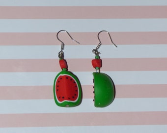 Watermelon earrings Polymer clay