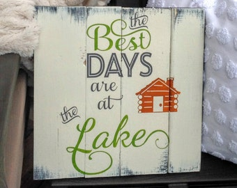 Personalized Lake House Sign, Lake House Decor, wood lake sign, Best Days are At the Lake