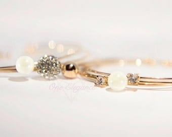 Rose Gold Bracelets Set of 3, Rose Gold Open Bangles, Thin Bangles, Rose Gold Pearl and Rhinestone Bracelet Bangles