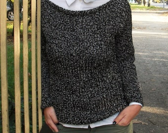 Hand knit sweater Boat neck sweater Slouchy sweater Knit sweater Grey sweater Handmade sweater