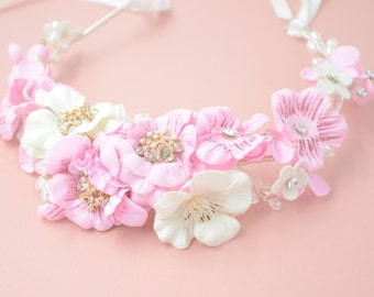 Bridal Headband with pink and cream flowers and pearls