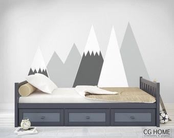 NURSERY Mountain Wall Art headboard view Wall Decal for kids big wall washable self adhesive sticker scandinavian pattern Decor