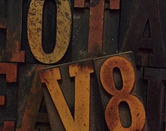 """Vintage 2""""  Letter Press Alphabet & Number Blocks"""