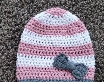 Baby beanie/12 month hat/crochet baby hat