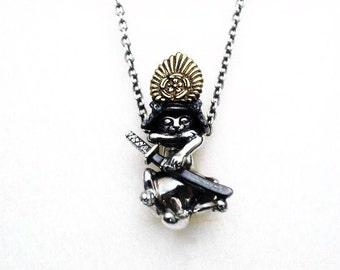 Silver Samurai cats neckless chain - NOBUNYAGA