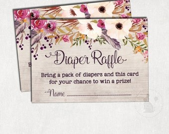 Bohemian DIAPER Raffle Printable. Flower Baby Shower. Boho Baby Raffle Ticket. Cottage Chic Insert Card. Floral Shower. Rustic Baby. FLO2