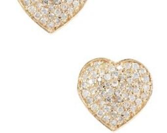 Pave Heart Diamond Earrings, Stud Heart Earrings, Diamond Earrings, Vintage Earrings, Heart Earrings